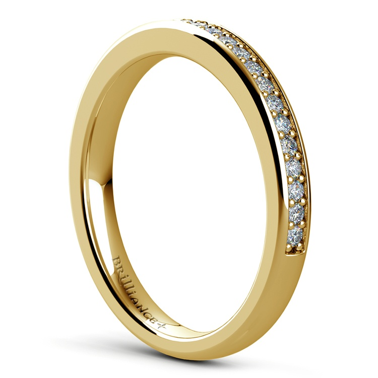 Pave Diamond Wedding Ring in Yellow Gold | 04
