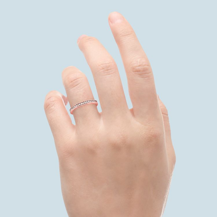 Channel Diamond Wedding Ring in Rose Gold (1/4 ctw)   06