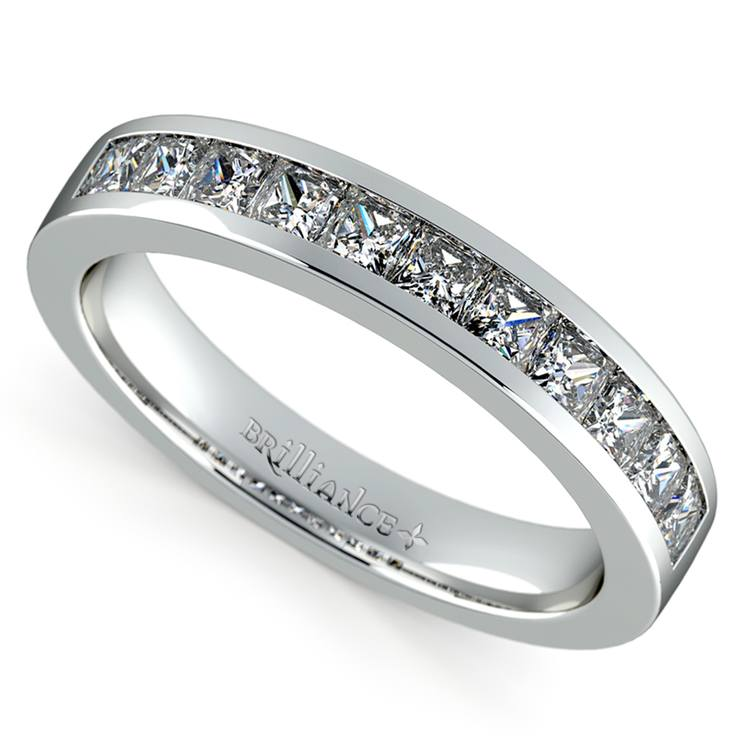 Princess Channel Diamond Wedding Ring in White Gold (3/4 ctw) | 01