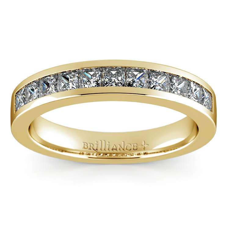 Princess Channel Diamond Wedding Ring in Yellow Gold (3/4 ctw) | 02