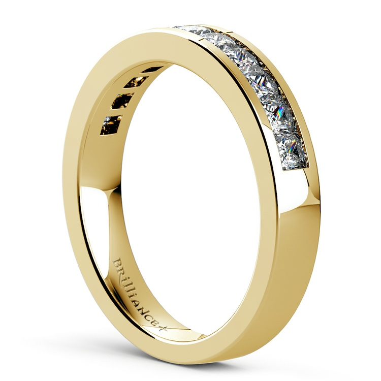 Princess Channel Diamond Wedding Ring in Yellow Gold (3/4 ctw) | 04