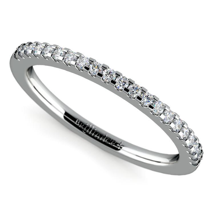 Scallop Diamond Wedding Ring in White Gold (1/4 ctw) | 01