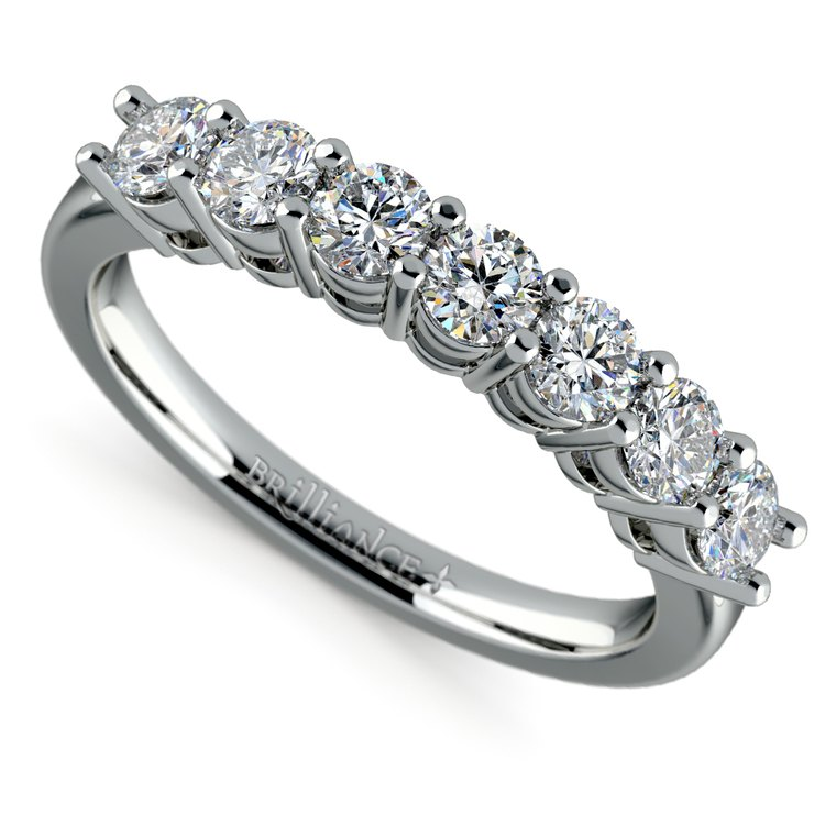 Seven Diamond Wedding Ring in White Gold (3/4 ctw) | 01