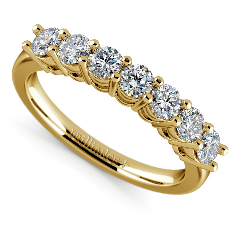 Seven Diamond Wedding Ring in Yellow Gold (3/4 ctw) | 01
