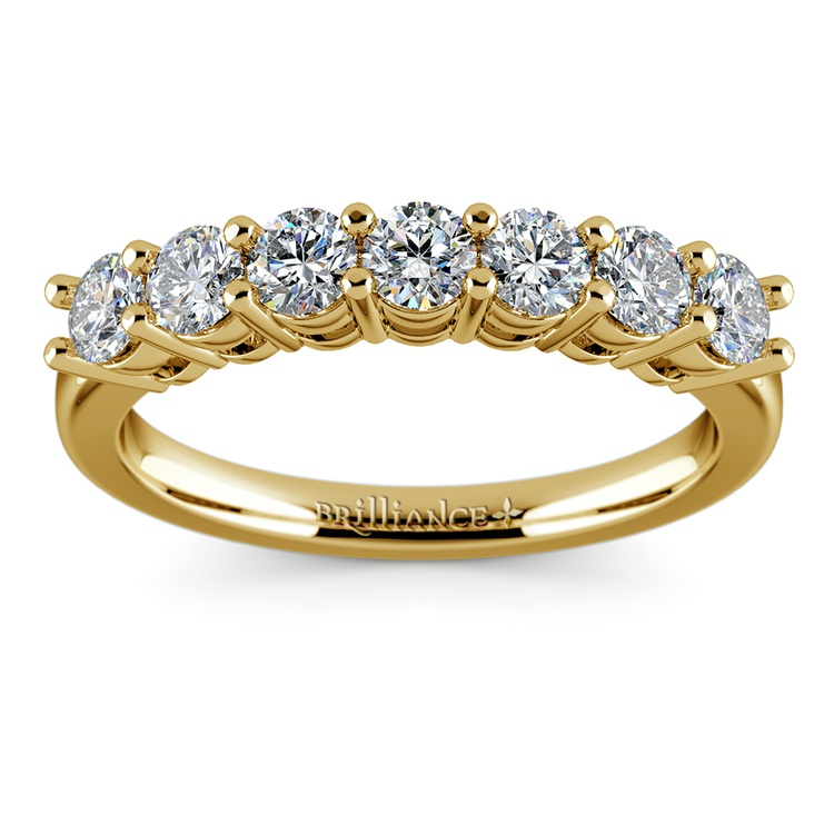 Seven Diamond Wedding Ring in Yellow Gold (3/4 ctw) | 02