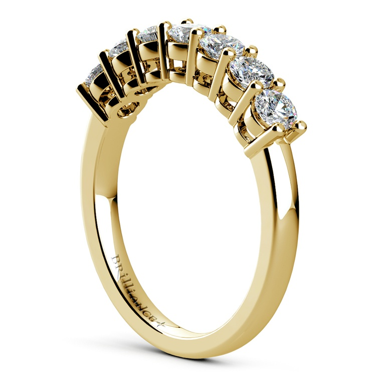 Seven Diamond Wedding Ring in Yellow Gold (3/4 ctw) | 04