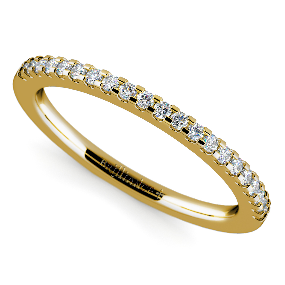 Scallop Diamond Wedding Ring In Yellow Gold 1 4 Ctw