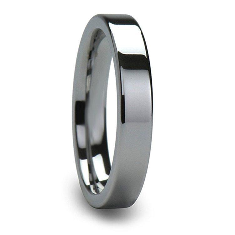 4mm Flat Edged Tungsten Carbide Mens Band | 02