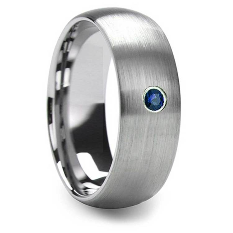 8mm Domed Brushed Tungsten Mens Band with Blue Sapphire Gemstone   02