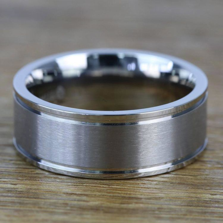 8mm Grooved Tungsten Mens Band with Brush Finish Titanium Inlay   03