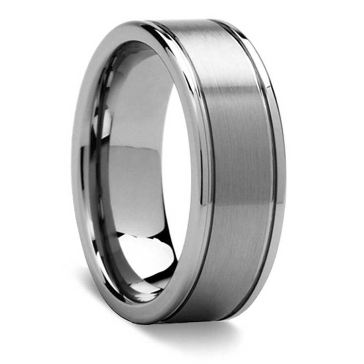 8mm Grooved Tungsten Mens Band with Brush Finish Titanium Inlay | 02