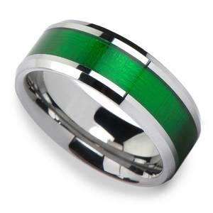 Gamma Ray - 8mm Tungsten Mens Band with Textured Green Inlay