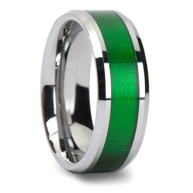 Gamma Ray - 8mm Tungsten Mens Band with Textured Green Inlay | 02