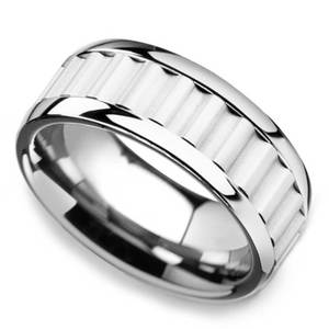 Clockwork - 9mm Tungsten Carbide Mens Band with Gear Teeth Inlay