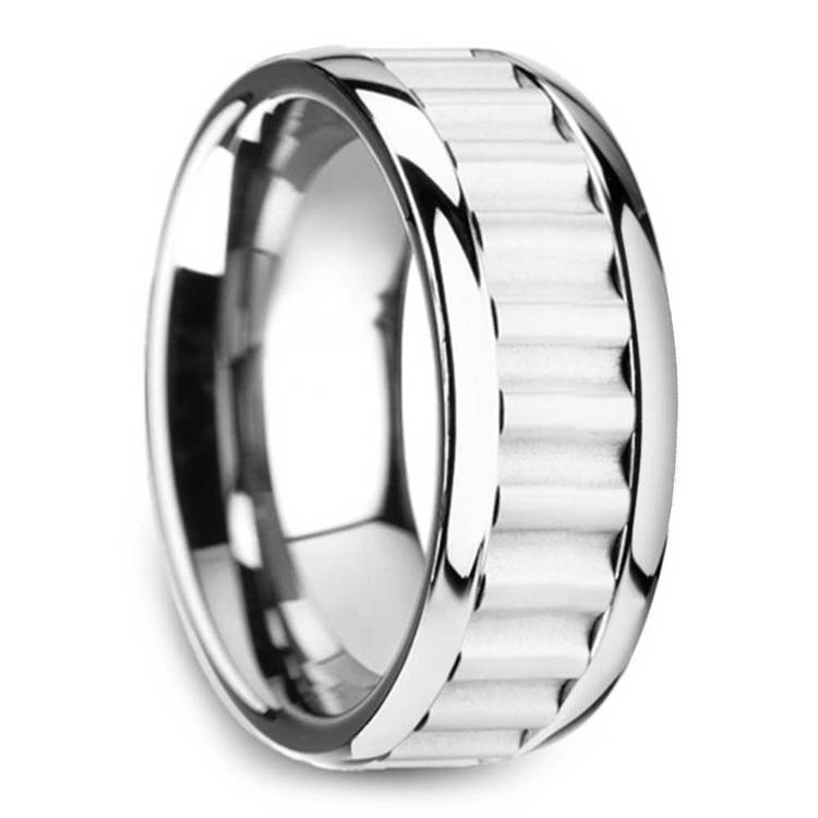 Clockwork - 9mm Tungsten Carbide Mens Band with Gear Teeth Inlay | 02
