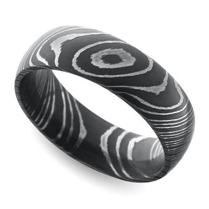 Acid Wash Comfort Fit Men's Wedding Ring in Damascus Steel