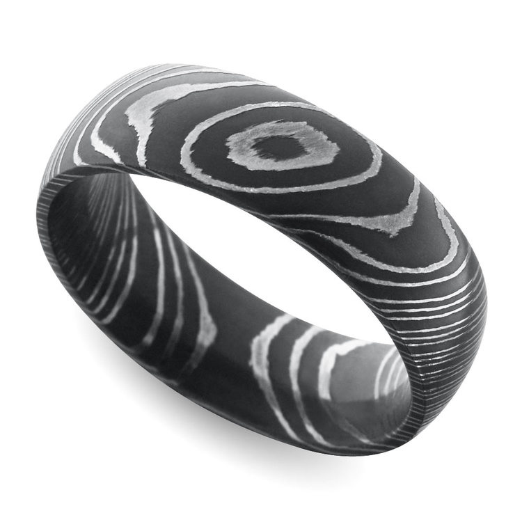 acid wash comfort fit mens wedding ring in damascus steel - Damascus Wedding Ring