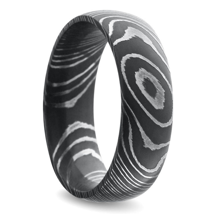 Acid Wash Comfort Fit Men's Wedding Ring in Damascus Steel | 02