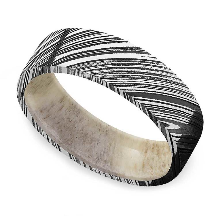 Antelope - Damascus Steel Mens Band with Antler Sleeve | 01