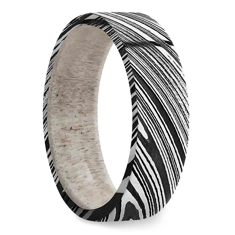 Antelope - Damascus Steel Mens Band with Antler Sleeve | 02