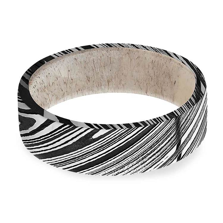 Antelope - Damascus Steel Mens Band with Antler Sleeve | 03
