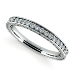Antique Floral Diamond Wedding Ring in Platinum | Thumbnail 01