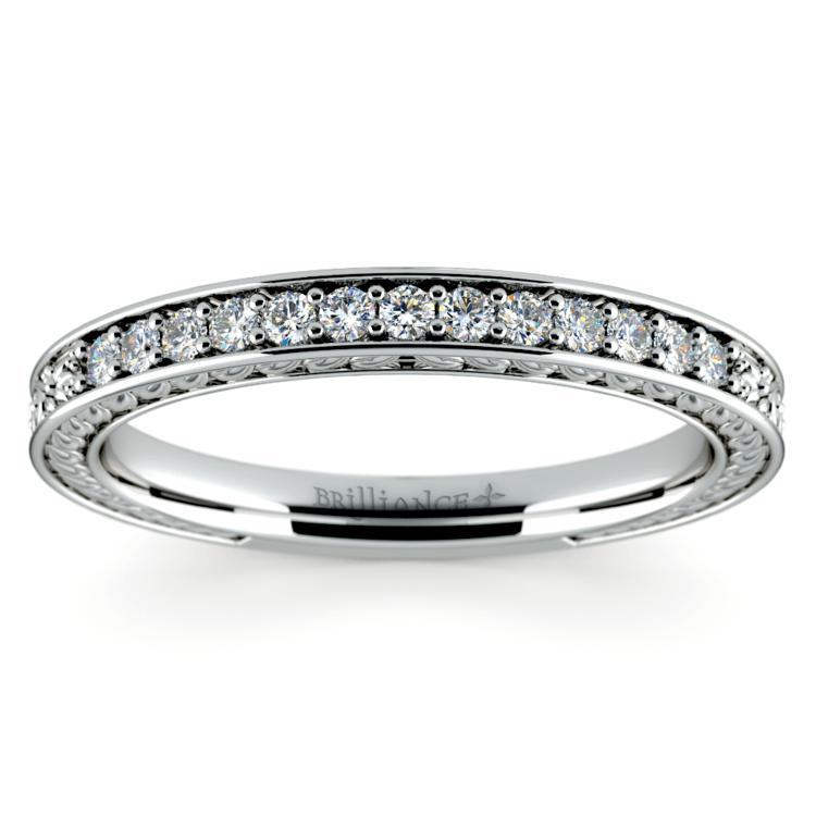 Antique Floral Diamond Wedding Ring in Platinum | 02