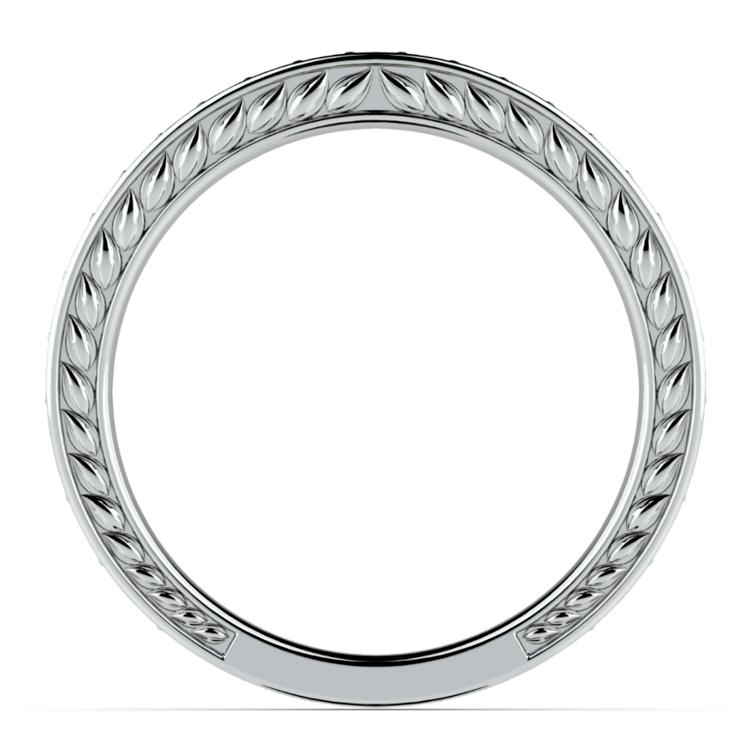 Antique Floral Diamond Wedding Ring in Platinum | 03