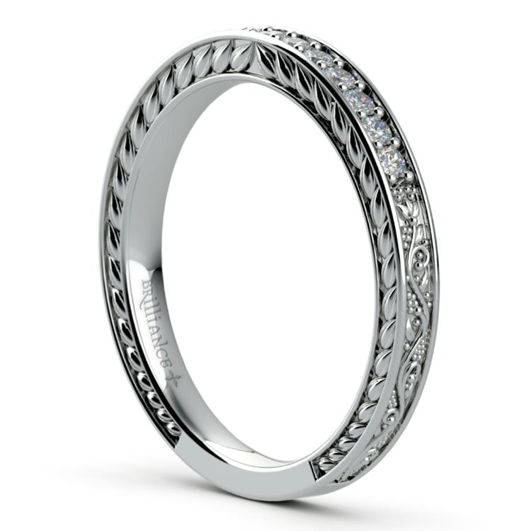 Antique Floral Diamond Wedding Ring in Platinum | 04