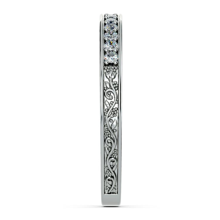 Antique Floral Diamond Wedding Ring in Platinum | 05