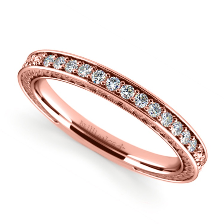 Antique Floral Diamond Wedding Ring in Rose Gold | 01