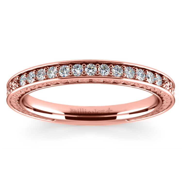 Antique Floral Diamond Wedding Ring in Rose Gold | 02