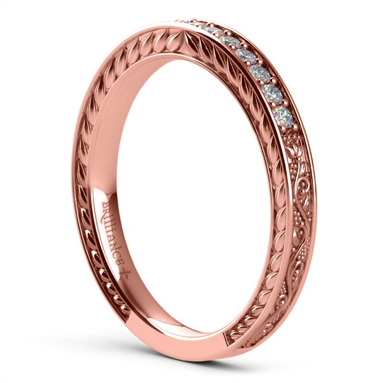 Antique Floral Diamond Wedding Ring in Rose Gold | 04