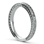 Antique Floral Diamond Wedding Ring in White Gold | Thumbnail 04