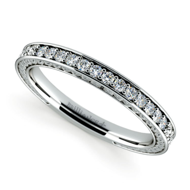 Antique Floral Diamond Wedding Ring in White Gold | 01