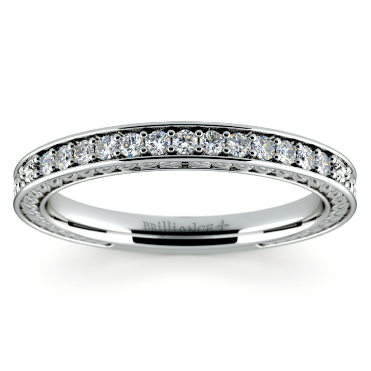 Antique Floral Diamond Wedding Ring in White Gold | 02