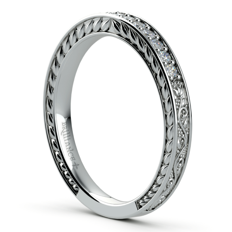 Antique Floral Diamond Wedding Ring in White Gold | 04