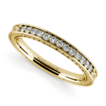 Antique Floral Diamond Wedding Ring in Yellow Gold | Thumbnail 01