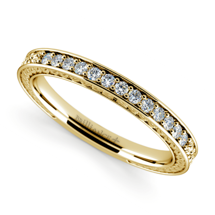 Antique Floral Diamond Wedding Ring in Yellow Gold | 01
