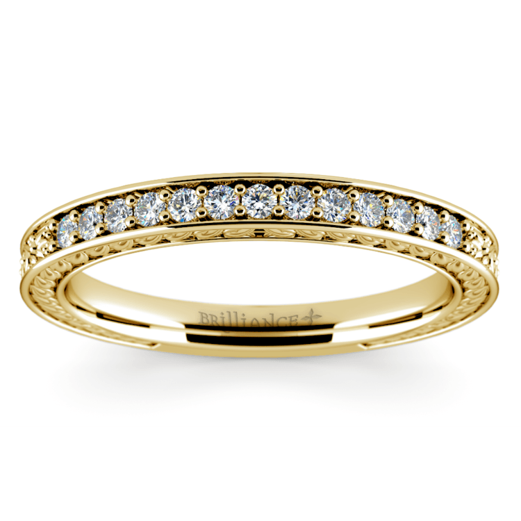 Antique Floral Diamond Wedding Ring in Yellow Gold | 02