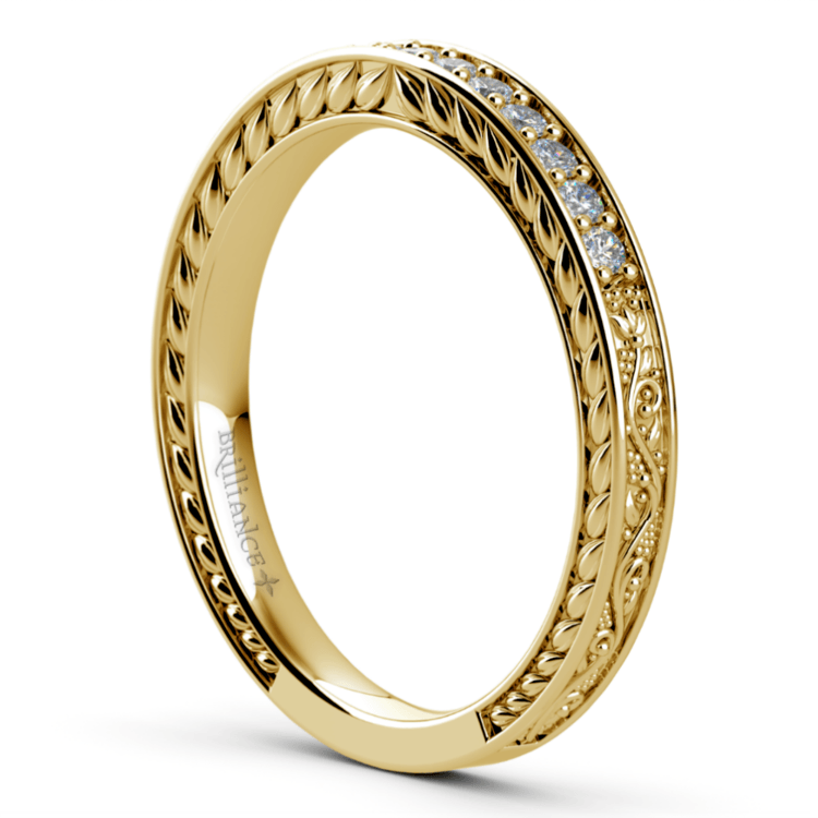 Antique Floral Diamond Wedding Ring in Yellow Gold | 04