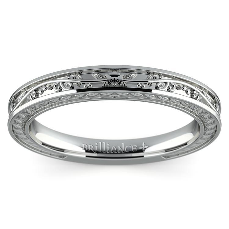 Antique Floral Wedding Ring in Platinum | 02
