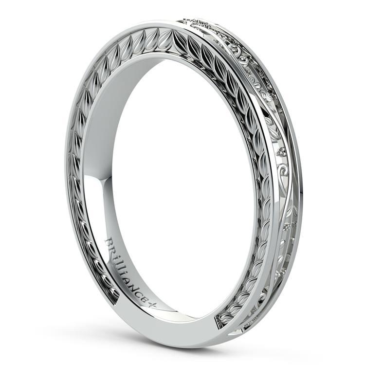 Antique Floral Wedding Ring in Platinum | 04