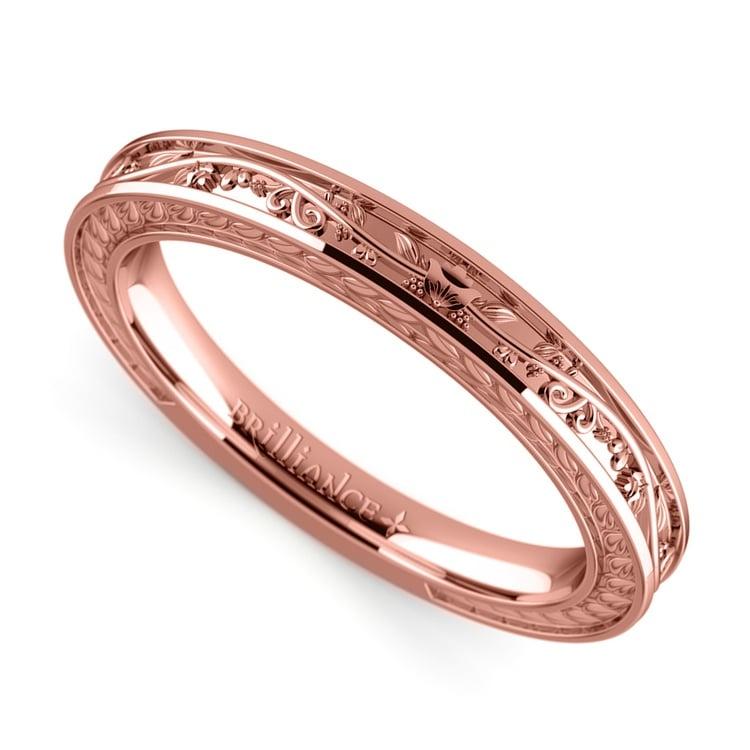 Antique Floral Wedding Ring in Rose Gold | 01
