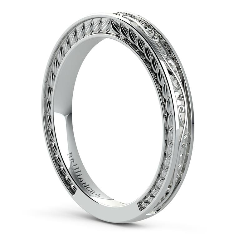 Antique Floral Wedding Ring in White Gold | 04