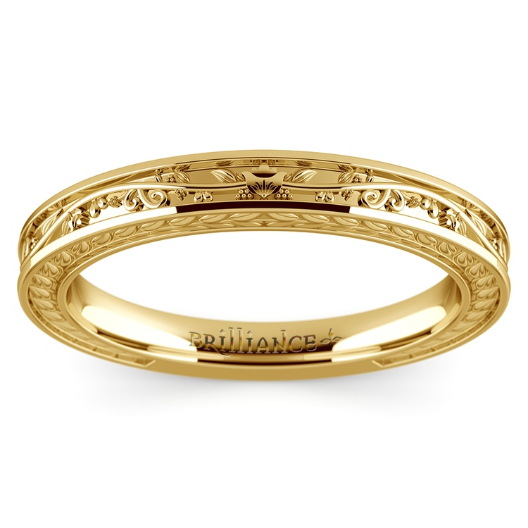 Antique Floral Wedding Ring in Yellow Gold | 02