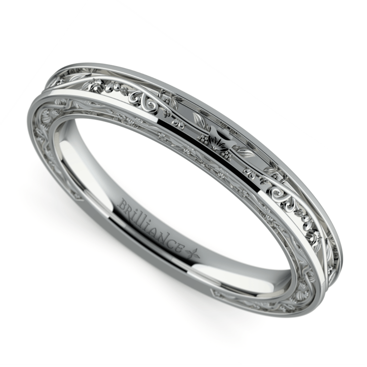Antique Wedding Ring in White Gold | 01
