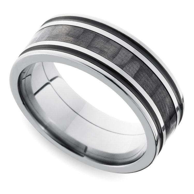 Antiqued Carbon Fiber Men's Wedding Ring in Titanium   01