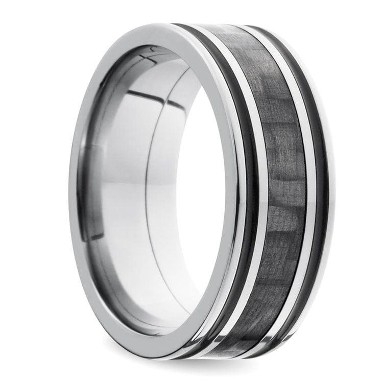 Antiqued Carbon Fiber Men's Wedding Ring in Titanium   02
