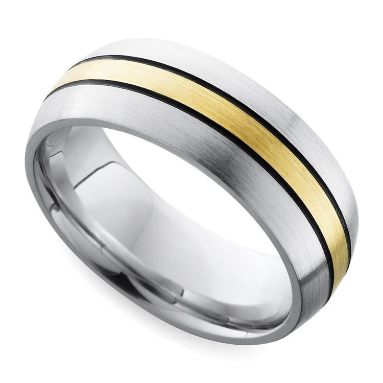 Antiqued Domed Men's Wedding Ring in Cobalt and Yellow Gold | 01